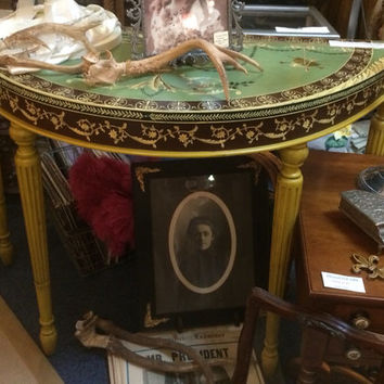 Vintage French Provincial Demi Lune Table