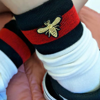 Red and black striped bee embroidery In tube socks Socks and knee socks