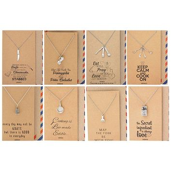 Taylor Chef Necklace Bundle Gift Set, Gifts for Mom, Dad, Chef, Cook Funny Birthday Cards