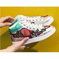 Gucci Fashion Flower Embroidery Old Skool Sneakers Sport Shoes Sliver