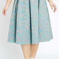 Finishing Touch Pleated Waist Burnout Midi Skirt Plus Size
