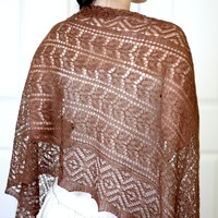 Knit lace shawl in coffee color, elegant shawl, gift for her