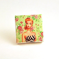 Retro Barbie Canvas Magnet - 2 in. x 2 in.