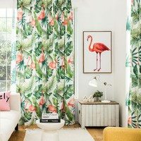 Drapes with Flamingo and Tropical Leaves