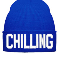 CHILLING EMBROIDERY HAT - Beanie Cuffed Knit Cap
