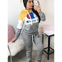 Champion Autumn and winter New Fashion Embroidery Hooded Long Sleeve Sweater And Pants Two Piece Suit