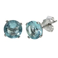Aquamarine CZ March Birthstone Stud Earrings .925 Sterling Silver Round BASKET