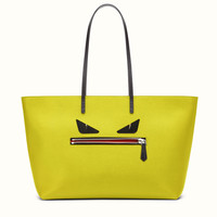 FENDI | ROLL BAG MEDIUM citron yellow leather tote bag with Bag Bugs pattern