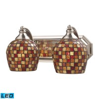 Mix-N-Match Vanity 2-Light Wall Lamp in Satin Nickel with Multi-colored Glass - Includes LED Bulbs
