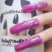 bling nails glitter curve purple long false nails drag queen costume cosplay press on fake nail uñas quirky cosplay men mani lasoffittadiste