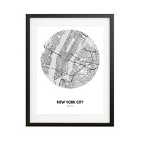 """New York City Map Poster - 18 by 24"""" City Map Print"""