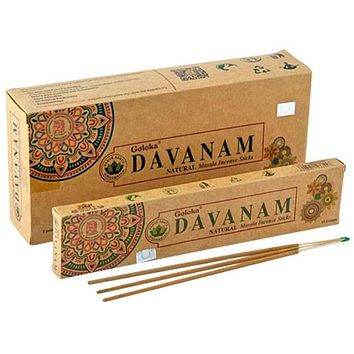 Goloka Organika Davanam Incense - 15 Gram Pack (6 Packs Per Box)