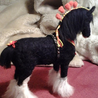 Needle felted Horse black Shire equestrian