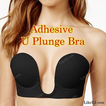 Women's U-Plunge V Plunge Adhesive Sticky Strapless Backless Bra