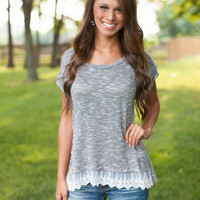 Gray Lace Patchwork T-Shirt