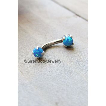 Rook piercing jewelry 16g blue opal daith earring barbell titanium vertical labret body piercing ring anti eyebrow stud 16g curved bar rings