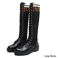 FENDI Popular Women Casual Leather Stretch Knit Boots Shoes Martin Boots