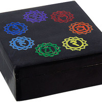 Etched Chakra - Black - Soapstone Storage Box
