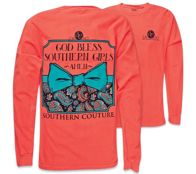 Image of Southern Couture God Bless Southern Girls Amen Pattern Bow Comfort Colors Long Sleeve Girlie Bright T Shirt
