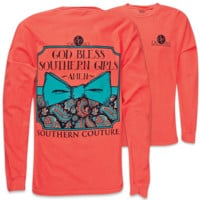 Southern Couture God Bless Southern Girls Amen Pattern Bow Comfort Colors Long Sleeve Girlie Bright T Shirt