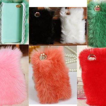 Pretty Colorful Fluffy Style Iphone Fur Case for 4 4S by trendding
