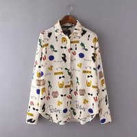 Cartoon Print Long Sleeve Button Collar Shirt