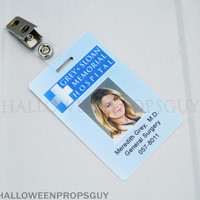 Grey's Anatomy Grey-Sloan Charactor ID Card with Clip.  Your Choice of Charactor - Grey, Torres, Sheperd, Yang, Robbins, Hunt.