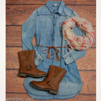 Dixie Land Belted Denim Chambray Dress