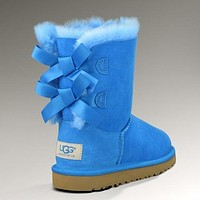 UGG Women Fashion Bow Fur Wool Snow Boots Calfskin Shoes