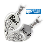 """Best Friend Gift Set - Half Heart Friendship Necklaces Engraved with """"Best"""" and """"Friends"""", 18"""" Chains Included"""