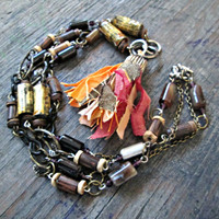 Bohemian Tassel Necklace - Boho Gypsy Jewelry - Festival Jewelry - Upcycled, Recycled, Repurposed