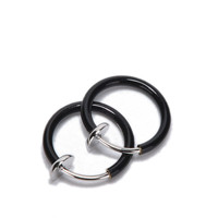 2Pcs Tongue Ring Goth Punk Clip On Fake Piercing Body Nose Lip Rings Hoop Ear Tongue Ring SM6