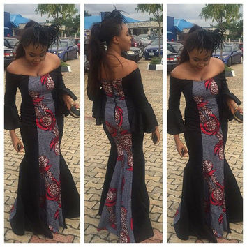 Hottest Fashion african wax print classic long dress off shoulder slash neck high elastic large pendulum african dress Alternative Measures - Brides & Bridesmaids - Wedding, Bridal, Prom, Formal Gown