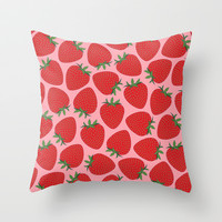 Strawberries Throw Pillow by Ornaart