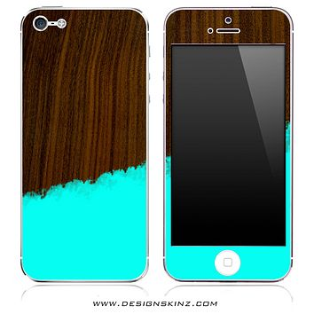 Turquoise Two-Tone Wood 6 iPhone Skin