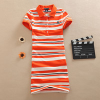 Evening Embroidery Vestido Stripe T Shirt Fashion 2016 Cartoon Print Dress Mini Polo Summer Cotton Sexy Women Vestidos De Festa