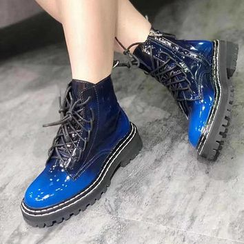 Women Lace-Up Color Patchwork Patent Leather Ankle Boots