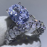 Sparkling Deluxe Jewelry Brand New 925 Sterling Silver Oval Cut 5A Cubic Zirconia Couple Rings Eternity Wedding Bridal Ring Set