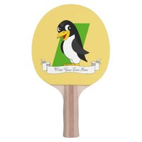 Cute penguin cartoon ping pong paddle