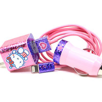3in1 Pink and Purple Hello Kitty Hologram Love iPhone 5/5s/5c Charger