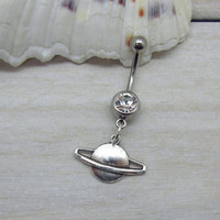 Antique silver saturn belly button rings , saturn navel piercing, saturn belly button ring jewelry,unique gift