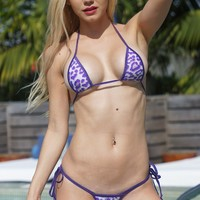 White w/ Purple Animal Print Sexy Small Scrunch Butt Bikini 3pc Micro Mini Set