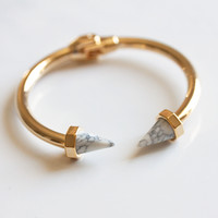 WHITE MARBLE SPIKE -BANGLE – BEUNIKI