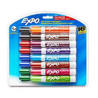 Expo 2 Low-Odor Dry Erase Markers, Chisel Tip, 16-Pack, Assorted