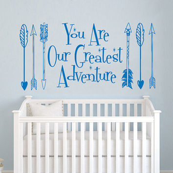 Wall Decals Quotes You Are Our Greatest Adventure Quote Vinyl Sticker Decal Arrow Feather Arrows Hipster Bedroom Kids Nursery Decor AN712
