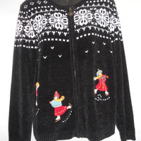 Vintage 80s Alfred Dunner Ugly Sweater Christmas Ice Skaters Embroidered Snowflakes