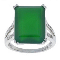 10.5 Ct Green Agate & Diamond Emerald Cut Ring .925 Sterling Silver