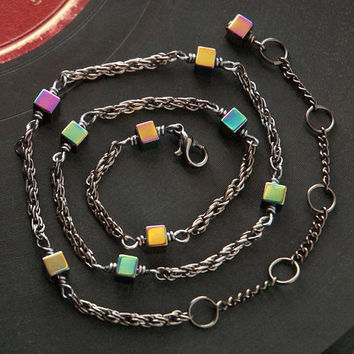 tiny rainbow hematite choker // colorful square beads on gunmetal toned pretzel chain