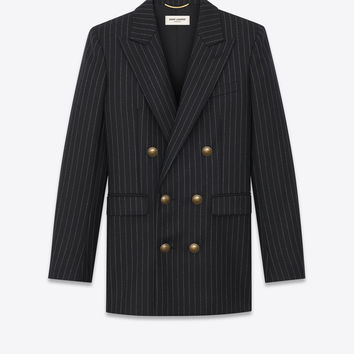 SAINT LAURENT DOUBLE BREASTED FLANNEL JACKET WITH RIVE GAUCHE STRIPES  | YSL.COM