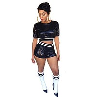 Sexy Clubwear 2015 Black 2 Piece Set Women Crop Top And Shorts Set Bandage Jumpsuit Short Sleeve Bodycon 2Piece Outfts Tracksuit